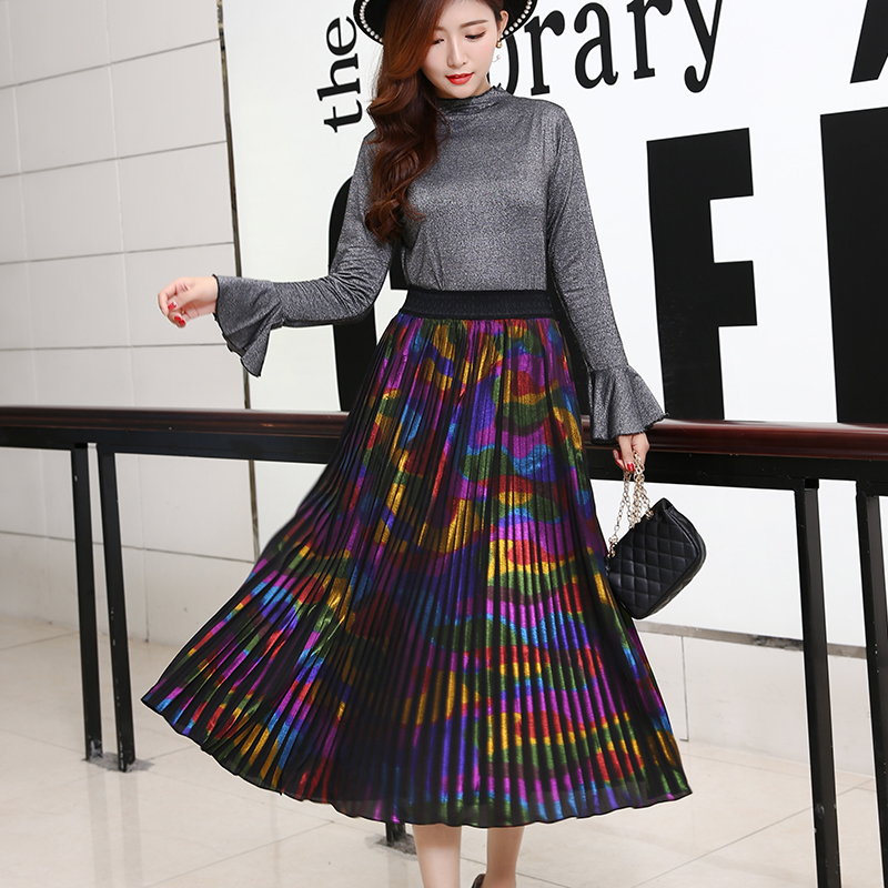 2019 New Arrival Women Metallic Gold Silver Skirt Midi Skirt High Waist Metallic Pleated Skirt Party
