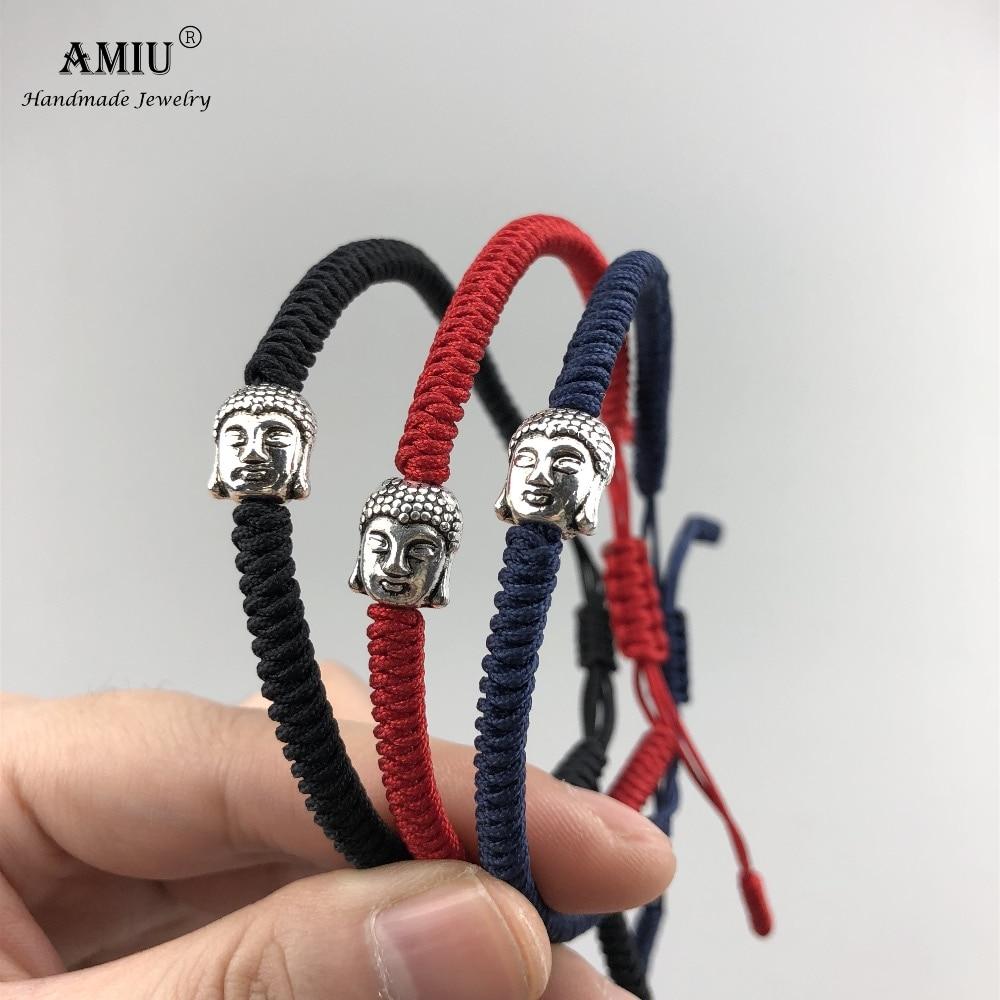 AMIU 3 Colors Tibetan Buddhist Prayer Bead Lucky Charm Tibetan Bracelets & Bangles For Women Men Handmade Knots Rope Bracelet