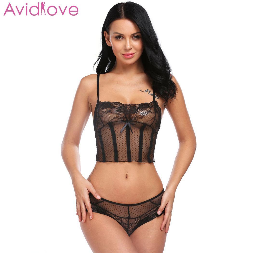 Avidlove Women Lingerie Sexy Set Exotic Apparel Nightwear Straps Sleepwear See-T