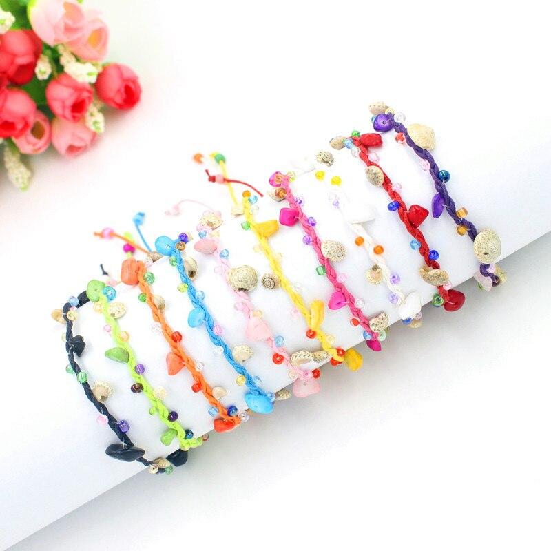 10 Colors Beaded Friendship Bracelets Genuine Caribbean Seafoam Beach Sea Surfer Bracelet Men with Conch and Stone