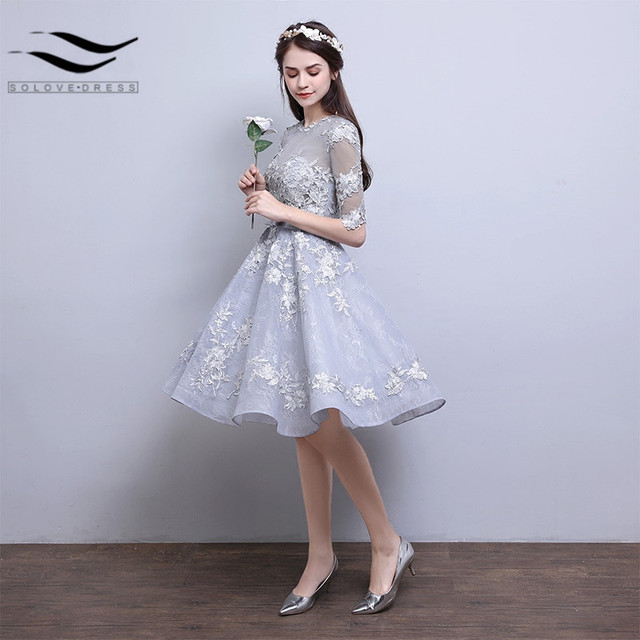 3808f0a49 Real Show Sexy Lace Flowers New Style A-line Zip Back Gray Short Formal  Evening Dresses Prom Dress 2019 With Half Sleeves