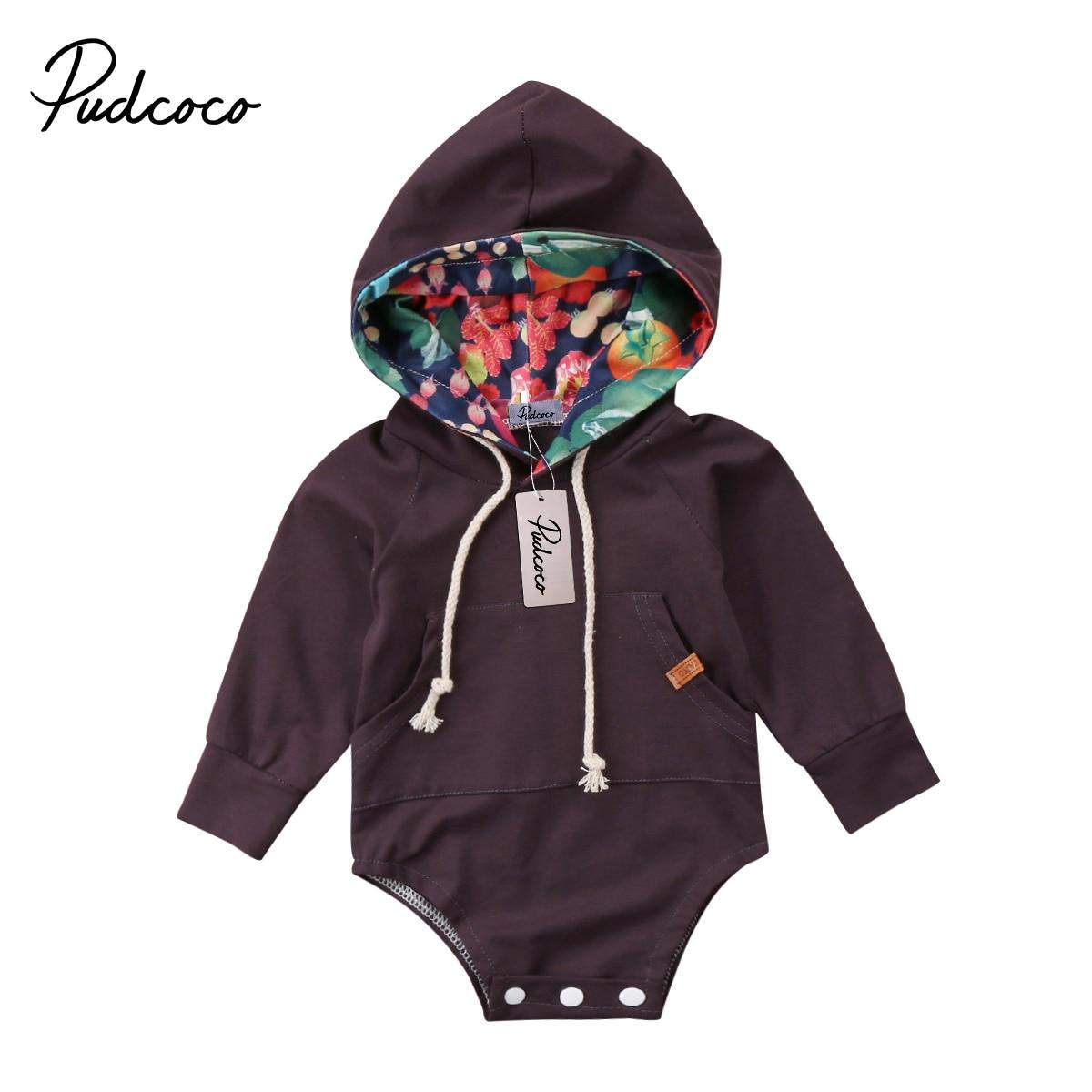 Pudcoco новорожденных Для маленьких мальчиков девушка цветочный капюшоном комбинезон с длинными рукавами и карманами, Кофты комплект