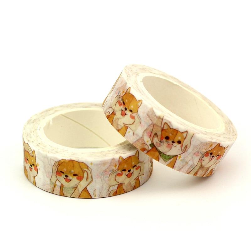 2PCS/lot Cute Kawaii Shiba Dog Decorative Washi Tape Paper DIY Scrapbooking Adhesive Tape 1.5cm*10m/Roll School Office Supply