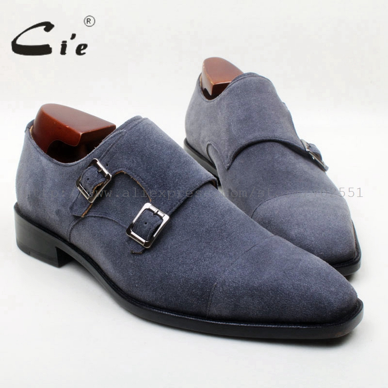 cie Square Toe Double Monk Straps Dark Grey Suede Handmade 100%Genuine Calf Leather Bottom Outsole Breathable Men Shoe MS133 cie round toe wing tips single monk straps hand painted brown 100%genuine calf leather breathable bottom outsole men shoems129