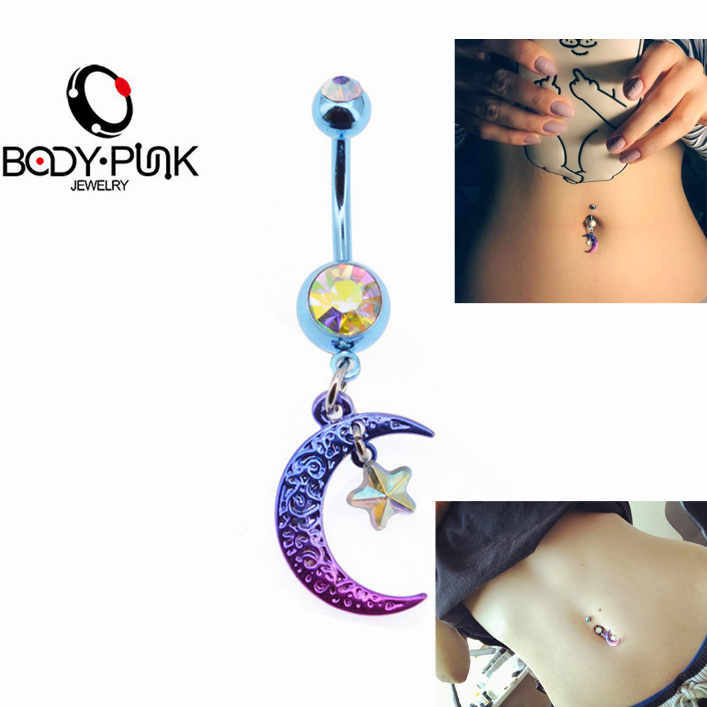 BODY PUNK Sommar Bikini Belly Button Ringar 14G Rainbow Moon Star CZ Navel Piercing Ring i Kroppsmycken Örhänge Ombligo Nombril