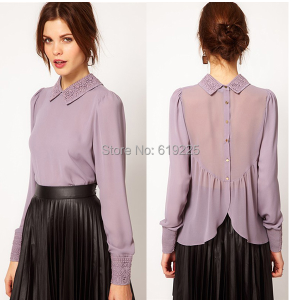 2014 Lace Collar Chiffon Full Sleeve Women 2 Colours Blouses Ladies