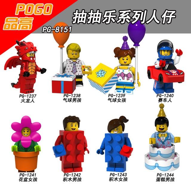 Lgoing 18 Figuras Da Série Fire dragon racing blocos de Construção do homem Vaso do bolo balão menino menina Sorteio Aberdeen Brinquedos JM136