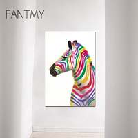FANTMY Hand Painted modern colorful zebra oil painting on canvas animal art living room zebra wall picture living room home wall