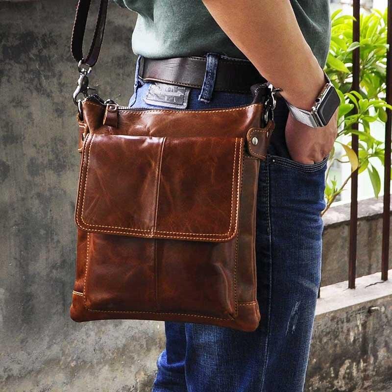 New Fashion Real Leather Multifunction Male Casual messenger bag Satchel cowhide 9 Pad Cross-body Shoulder bag For Men 811 hot vintage men canvas satchel casual cross body messenger shoulder bag