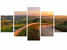 5 Pieces The Sunset and mountain Modern Home Wall Decor Canvas Picture Art HD Print Painting On Artworks Framed