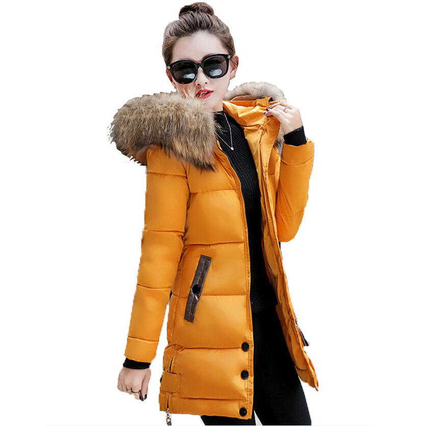 Winter Jacke Frauen Big Fell Kapuze Parka Lange Mäntel Baumwolle Gepolsterte Damen Winter Mantel Frauen Warm Verdicken Jaqueta Feminina Inverno