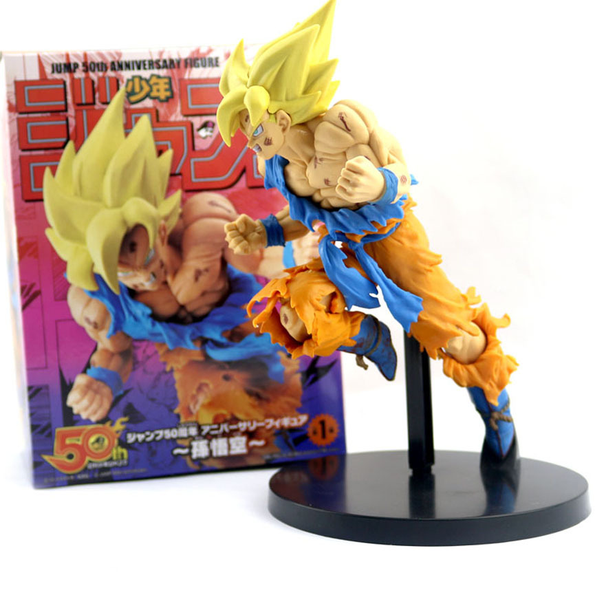 NEW 20cm Dragon Ball Z Goku Figure Toy Son Goku Jump 50th Anniversary Anime DBZ Model Doll Gift For Children Action Figure Toys