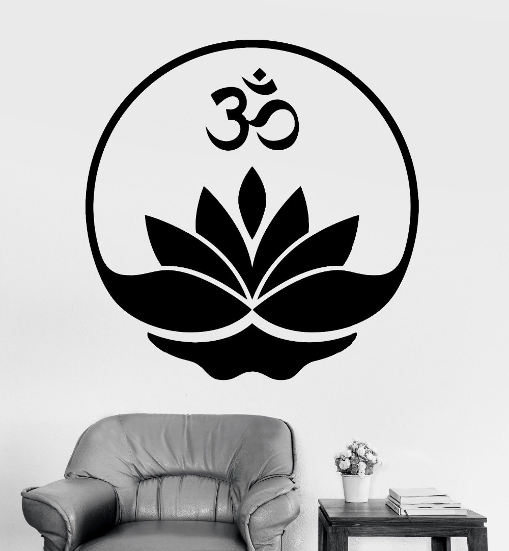 Removable Home Decor Wall Stickers Buddha Om Lotus Meditation Decal Vinyl Decals CW-13