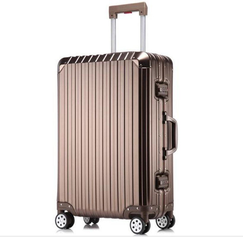 20 inch 29 Aluminum-magnesium Alloy Rolling Luggage Boarding Spinner Wheel Suitcase valise Trolley Hardside Box XL030 20 25 29 aluminum magnesium alloy metal luggage fashion spinner rolling suitcase business aluminum frame luggage