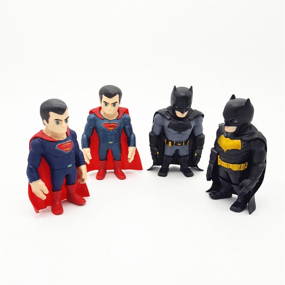 ФОТО SAINTGI Batman v Superman Dawn of Justice Batman&Superman Doll DC Super Heroes PVC 12CM 4PCS/SET Action Figure Model Kids Toys