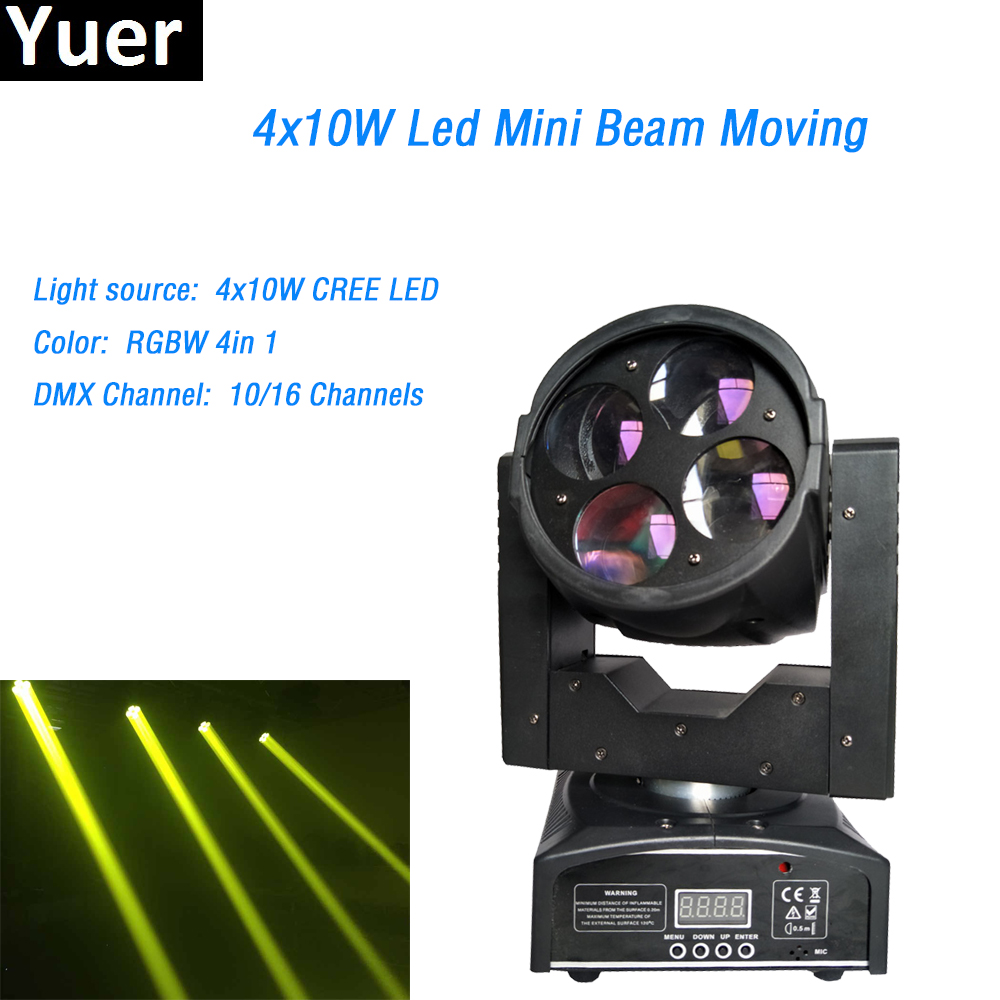 4x10W Mini Led Moving Head Beam Light Cree led lamp DMX 512 control 4/16CH 90V 240V for DJ Disco Wedding Xmas professional light