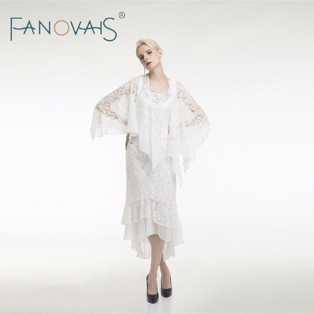 Deux pièces ivoire thé longueur mère de la mariée robes cou transparent élégant marié mère robes Vestido de fiesta mère robe