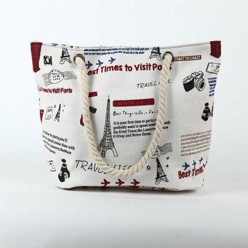 Rdywbu 2018 Paris Tower Shell Printing Canvas Beach Shoulder Bag Women's Creative Rope Shopping Bag Big Summer Tote Handbag B103 2