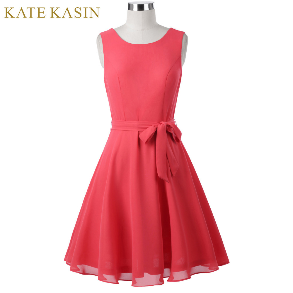 2017 Summer New Kate Kasin Women Sleeveless O Neck Chiffon Vestidos Casual Prom Party Daily Club