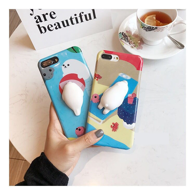 Newest 3D Seal Sea Lions Cartoon Solf Silicone Case For iPhone7 Plastic Penguin Cover For IPhone7 Coque For iphone7plus Funda