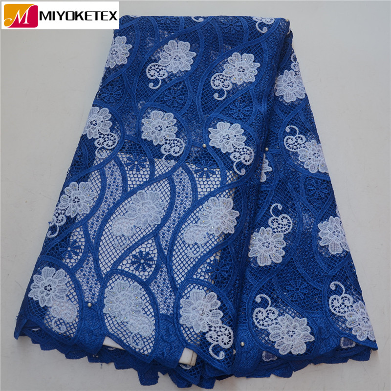 2019 bleu Royal brodé lacets nigérians cordon lacets tissu de haute qualité français Guipure dentelle tissu pour les femmes robe PSA511-1