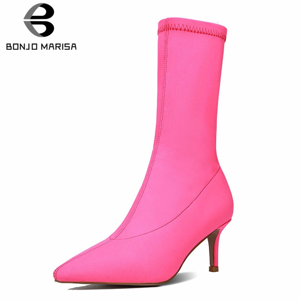 BONJOMARISA Brand New Big Size 35-41 Lycra Pointed Toe Lades High Heels Shoes Woman Casual Party Sexy Autumn Winter Ankle BootsBONJOMARISA Brand New Big Size 35-41 Lycra Pointed Toe Lades High Heels Shoes Woman Casual Party Sexy Autumn Winter Ankle Boots