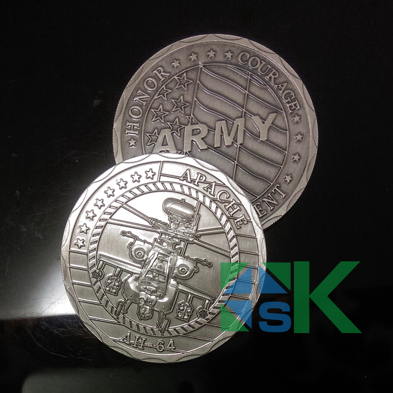 DHL Free Shipping 100pcs/Lot Apache Helicopter AH64 Army Challenge Coin of United States Silver Plated Coins 40*3mm