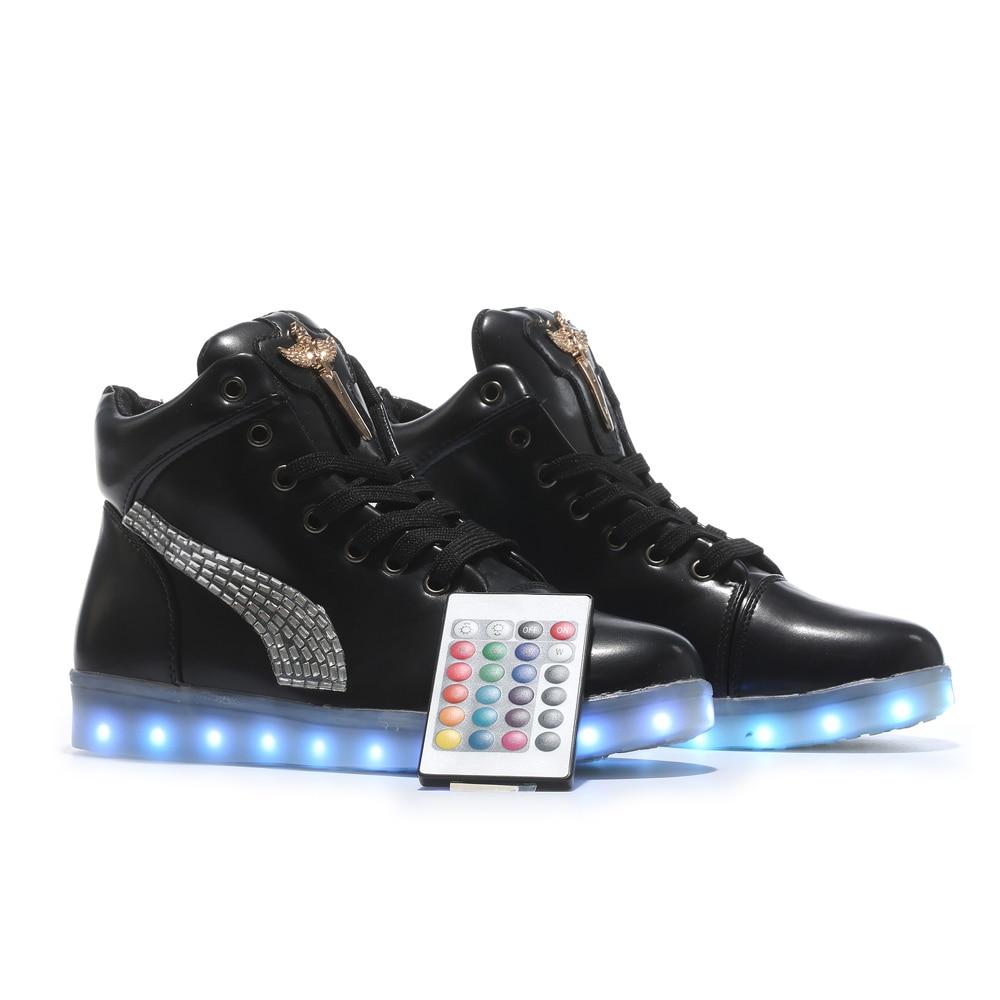 remote control High Top LED Luminous Light Up Shoes women Leisure Casual  Shoes Woman Shoes Hot Fashion color tenis led lace 0851fe6a1