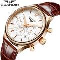 Homens da forma do Relógio GUANQIN 2016 Novos Relógios De Quartzo Dos Homens Top Marca de Luxo relógios de Pulso de Couro À Prova D' Água reloj hombre