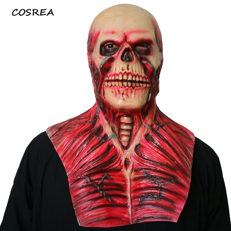 Horrible Latex Scary Devil Zombie Mask Realistic Blood Monster Skull Full Face Mask Halloween Party Cosplay Masks Props Supplies