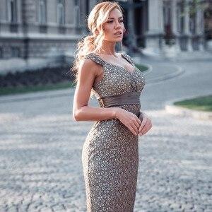 Image 5 - Vestidos דה פיאסטה 2020 פעם די חדש אלגנטי בת ים V צוואר שרוולים תחרה שמלות נשף בתוספת גודל המפלגה שמלת חלוק דה soiree