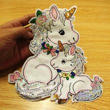 DIY Sequin Unicorn Patches For Clothes Sew on Clothing Cartoon Patch Applique On Stickers