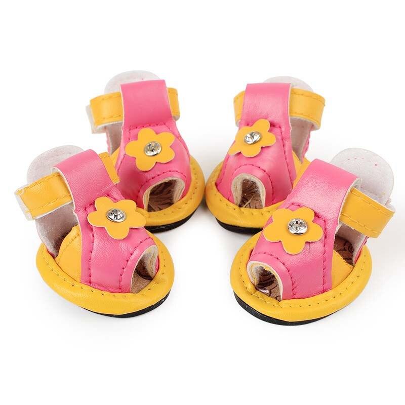 SYDZSW Nye PU Pet Støvler Hunde Sko Cute Solsikker En Diamant Candy - Pet produkter - Foto 4
