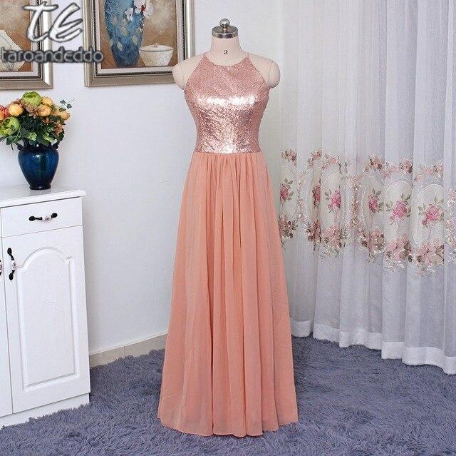 Halter Neck Sequin Top Pink Floor Length Long Bridesmaid Dress Under 100 Vestidos De Fiesta