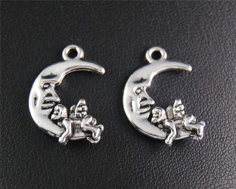 20pcs Antique Sliver Moon With Angel Charm Fit Bracelets Necklance DIY Metal Jewelry Making 22x15mm A2095