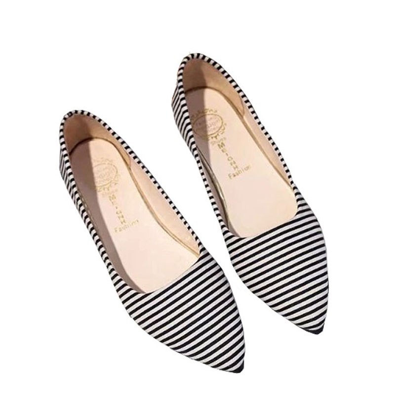 Women Flats Shoes Pointed Toe Slip on Shoes Ladies Striped Flock Flats Shoes Black Pink Female Shallow Mouth Casual Shoes lin king fashion pearl pointed toe women flats shoes new arrive flock casual ladies shoes comfortable shallow mouth single shoes