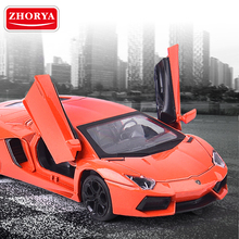Zhorya 1:32 High Simulation Alloy Car Pull Back Metal Vehicles Diecast Model Toys Door-open with Light and Sound For Kids Boys