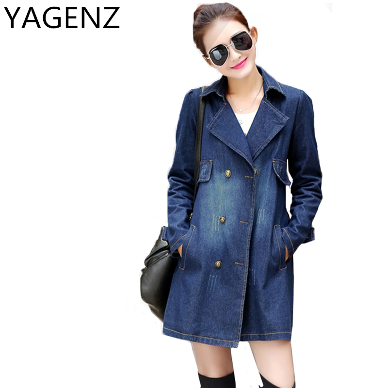 YAGENZ Double-breasted Denim   Jacket   Women 2017 Spring Medium-long Loose Jeans Coat Autumn Vintage Denim Bf lady   Basic     Jacket   Top