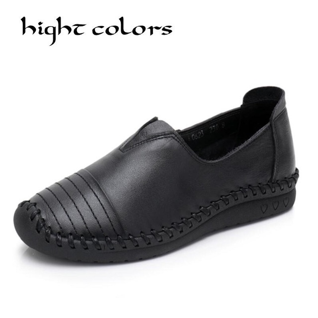 Deep Mouth Genuine Leather Flat Shoe Pregnant Women Mother Driving Shoes Female Moccasins Women Flats Hand-Sewing Shoes