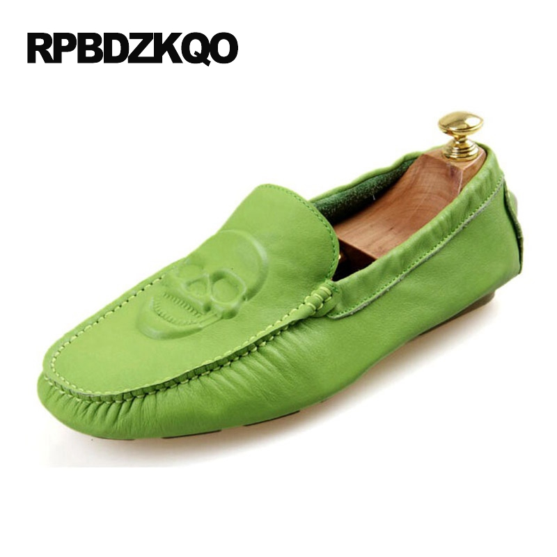 White Spring Driving Blue Chic Slip On 2017 New Men Flats Orange Comfort Moccasins Shoes Green Printed Breathable Skull Loafers