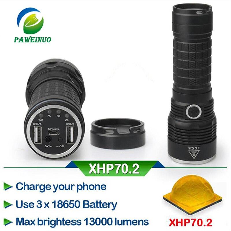 Led Flashlight 29W XHP70.2 50000 lumen 3*18650 battery xhp70 Police LED Flashlight mobile power bank usb output port*2 Люмен