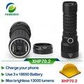 Linterna Led 29 W XHP70.2 50000 lumen 3*18650 batería xhp70 policía linterna LED Banco móvil de la Energía de salida usb puerto * 2