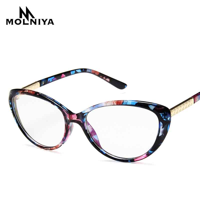 Women Cat Eye Optical Eye Frame Glasses Lady Retro Light Printing Myopia Eyeglasses Frames Brand Design Glasses(China)