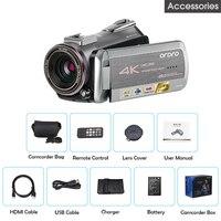 ORDRO AZ50 настоящий 4 K видео Камера 30FPS Ночное Видение 4 K камера Регистратор H.265 формат Поддержка стерео микрофон gps приемник