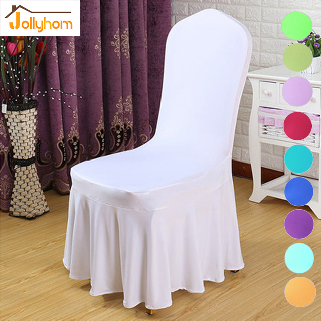 1pc Home Textile Solid Elastic Dining Chair Cover 100% Polyester With Skirt  Chair Cover For