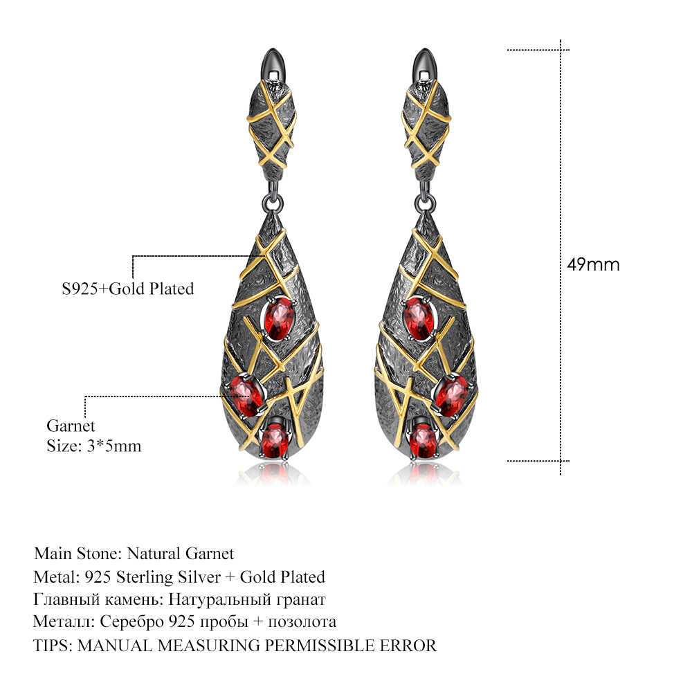 GEM'S บัลเล่ต์ 1.89Ct ธรรมชาติโกเมนอัญมณีต่างหูเครื่องประดับ 925 เงินสเตอร์ลิง Vintage Cross เส้น Drop ต่างหูสำหรับผู้หญิง