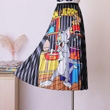 BGSOLID גבוהה מותניים מילת חצאית אלסטי מותניים קריקטורה הדפסת קפלים חצאית סיטונאי וdropshipping חצאית שניהם בברכה