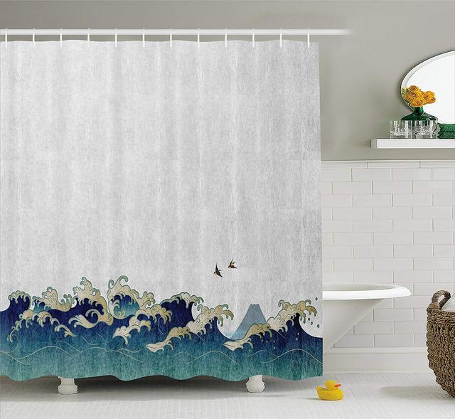 Japanese Wave Shower Curtain Aquatic Swirls Flying Birds Of Ocean Ukiyo E Style Artwork Grunge Print