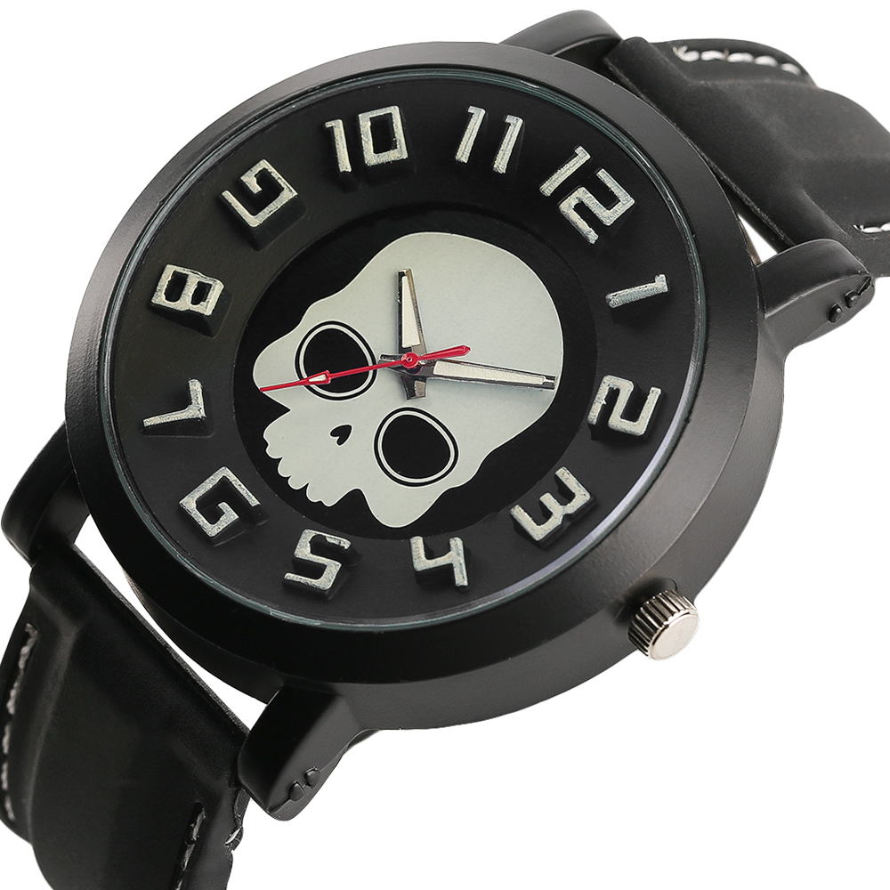 Unique Men Watch Gothic Ghost Skull Dial 3D Display Wristwatch Male Sports Military Steampunk Mens Clock
