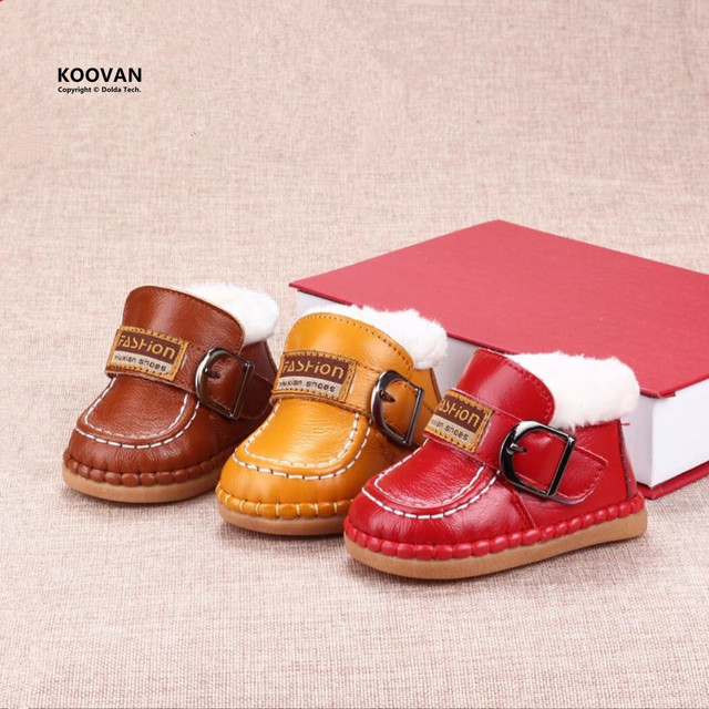 Koovan Baby's Boots 2017 Snow Baby Boots Boot Children Shoes Winter Warm For Girls Boys Soft Bottom Genuine Leather